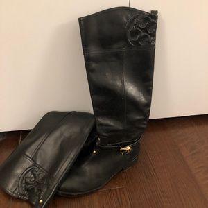 Tory Burch black calf high riding boots